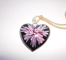 Black Heart Flower Pendant Necklace by inspiredby24
