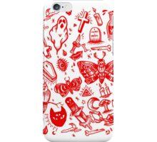 BLOOD RED SPOOKY TATTOO FLASH SHEET iPhone Case/Skin