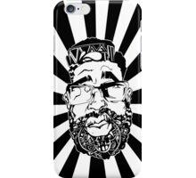Graffiti Pop-art Cartoon Portrait w/ Background Rays iPhone Case/Skin