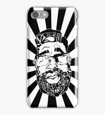 Graffiti Pop-art Cartoon Portrait w/ Background Rays iPhone Case/Skin