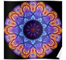 Blue Flame Kaleidoscope 02 Poster