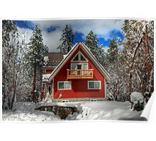 The Mountain Cabin In The Snow Poster