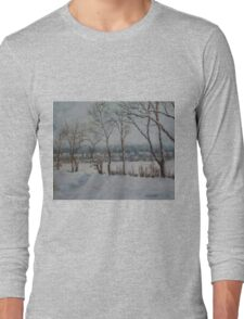 Snow on Winter Lake Long Sleeve T-Shirt