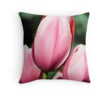 Pink Tulips with Whtie and Salmon Accents Throw Pillow