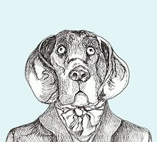 Dog art: pensive hound dog in tweed jacket and ascot, pen & ink on blue background, black and white, animal art by yankeedime