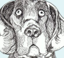 Dog art: pensive hound dog in tweed jacket and ascot, pen & ink on blue background, black and white, animal art Sticker
