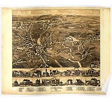 Panoramic Maps Uxbridge Mass 1880 Poster
