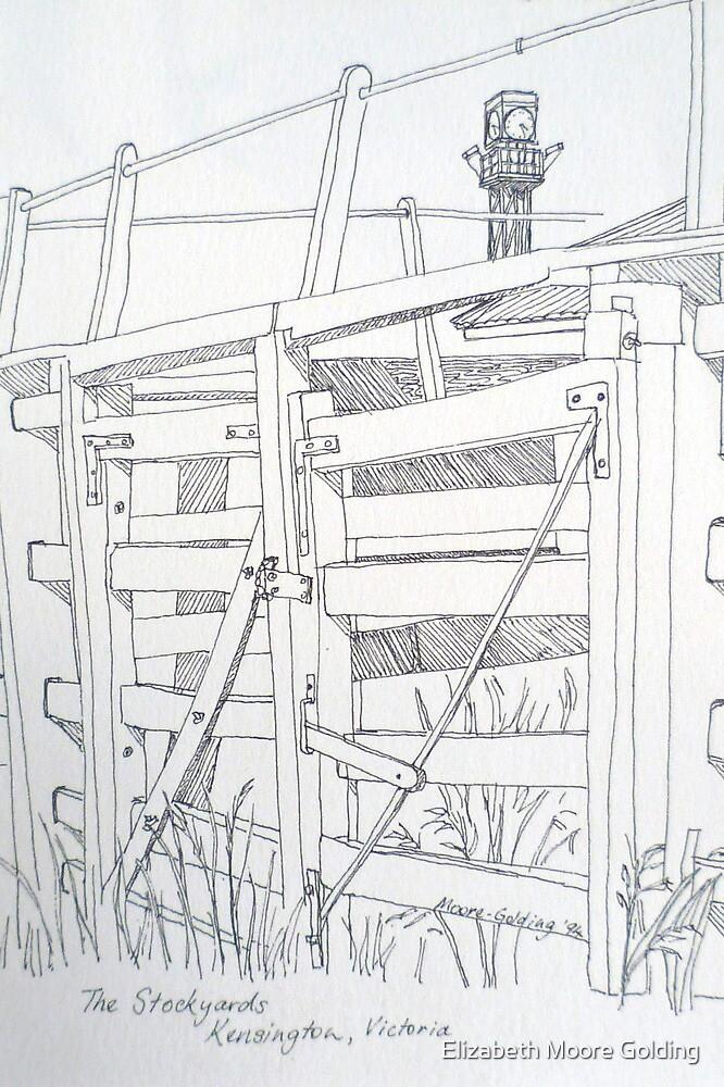 Old sale and stockyard, Kensington. Pen sketch. 1994Ⓒ by Elizabeth Moore Golding