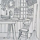 Cottage pen sketch. Elizabeth Moore Golding 1994Ⓒ by Elizabeth Moore Golding