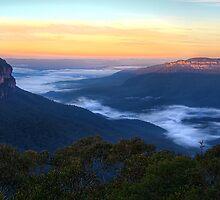 Sunrise on the Jamison Valley, NSW by Jennifer Bailey