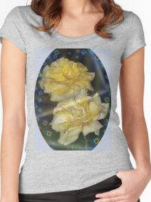 Yellow roses emblem  Women's Fitted Scoop T-Shirt