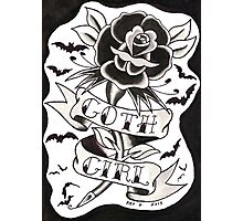 Goth Girl Rose Photographic Print