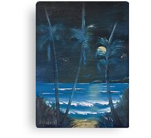 Palms in Moolight. Canvas Print