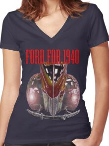 1940 Ford Women's Fitted V-Neck T-Shirt