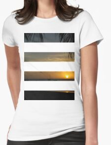 4 Strip Sunset Womens Fitted T-Shirt