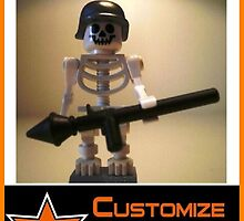 Customize My Minifig Collector Card 19 - CSkeleton Zombie Soldier with Custom LEGO® Minifigure Helmet & Bazooka, by 'Customize My Minifig' by Chillee