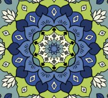 Green Blue White Mandala Design Sticker