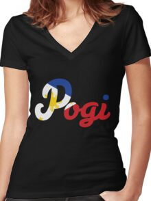 Filipino Flag Pogi Women's Fitted V-Neck T-Shirt