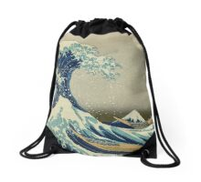the great wave kanagawa japan Drawstring Bag