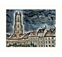 St-Nicolas cathedral in Fribourg (Switzerland) Art Print
