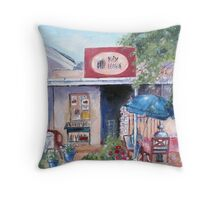 Little Pink Coffee House Throw Pillow
