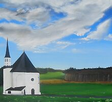 """Bavaria Inspired By Dixon.  Quiet Country Chapel"" (Image of an Oil Painting) by LBMcNicoll"