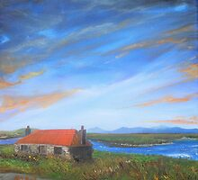 """North Uist Inspired by Dixon; Four Stone Walls Deserted"" (image of an Oil Painting) by LBMcNicoll"