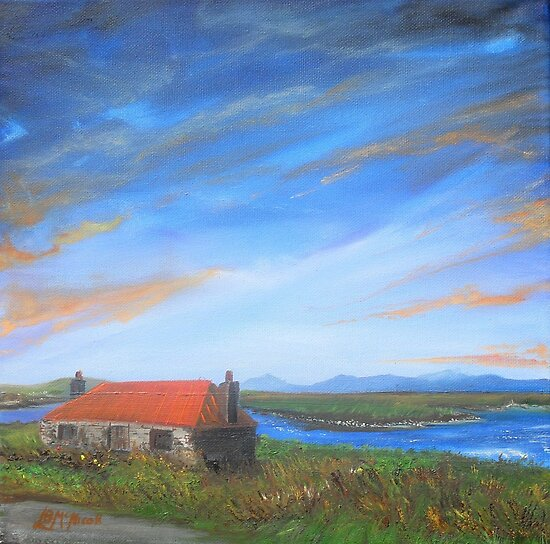 """""""North Uist Inspired by Dixon; Four Stone Walls Deserted"""" (image of an Oil Painting) by LBMcNicoll"""