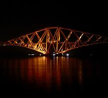 Floodlit:  The Forth Rail Bridge South Cantilever. by LBMcNicoll