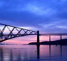 South Cantilever at Dawn:  The Rail Bridge. by LBMcNicoll