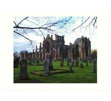 Melrose Abbey, the Scottish Borders. Art Print