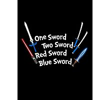 One Sword, Two Sword, Red Sword, Blue Sword Photographic Print
