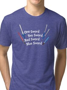 One Sword, Two Sword, Red Sword, Blue Sword Tri-blend T-Shirt