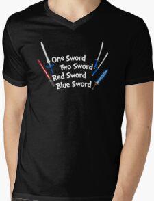 One Sword, Two Sword, Red Sword, Blue Sword Mens V-Neck T-Shirt