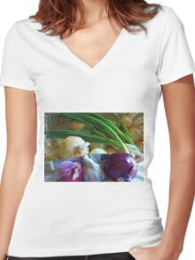 Onions in the Bag Women's Fitted V-Neck T-Shirt