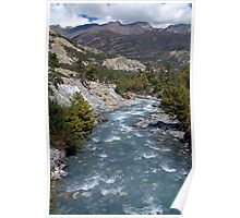 River and Clouds near Manang Poster