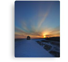 Cold winter morning in the Bakken oil fields, North Dakota Canvas Print