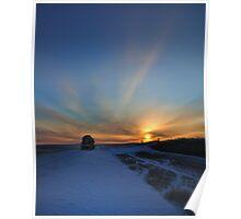 Cold winter morning in the Bakken oil fields, North Dakota Poster