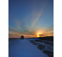 Cold winter morning in the Bakken oil fields, North Dakota Photographic Print