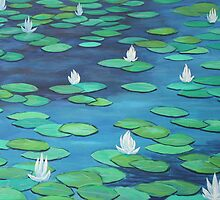 Oil Painting - Water Lilies at Ginkaku-ji Temple Park  by Igor Pozdnyakov