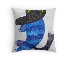 strange cat Throw Pillow