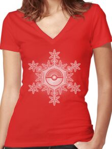 Pokeball Snowflake Women's Fitted V-Neck T-Shirt
