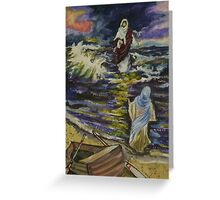 Jesus walking on  stormy seas Greeting Card