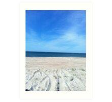 Blue skies above & sand below Art Print