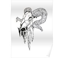 'Decay' Ram Skull Ink Drawing Poster