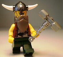 Thor Minifig Viking LEGO® Custom Minifigure with Custom Beard & Thunder Hammer, by 'Customize My Minifig' by Chillee