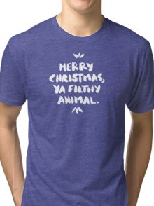 Merry Christmas, Ya Filthy Animal – Black Tri-blend T-Shirt