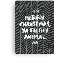 Merry Christmas, Ya Filthy Animal – Black Canvas Print