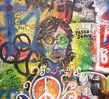 Close-up of Graffiti on the John Lennon Wall, Prague by ChrisCiolli