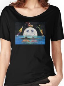 Mermaids Jumping Over Moon Cathy Peek Fantasy Women's Relaxed Fit T-Shirt